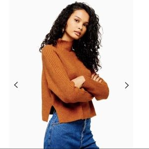 NYT Topshop Knitted Cropped Funnel Neck Sweater